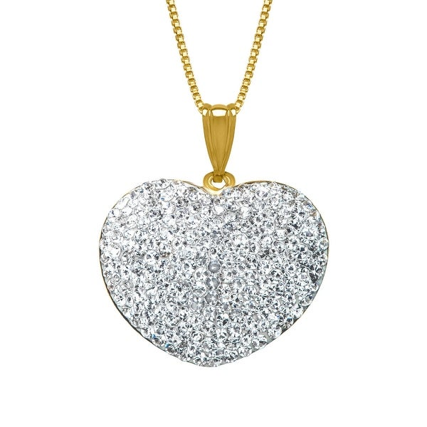 Crystaluxe Heart Pendant with Swarovski Crystals in 14K Gold-Plated Sterling Silver