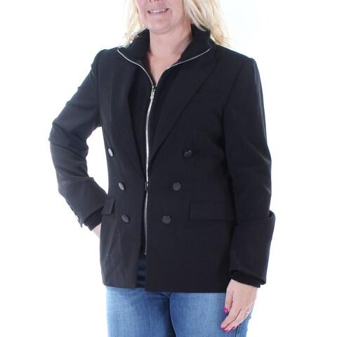 CALVIN KLEIN Womens Gray Zippered Convert To Blazer Peacoat Jacket Size: 12