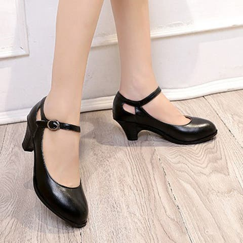Buckle Strap Chunky Heel Mary Jane Shoes - M