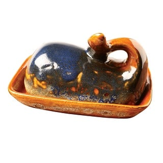 Creative Co-Op Whale Butter Dish - Stoneware Animal Shaped Covered Butter Server, Handmade Tableware