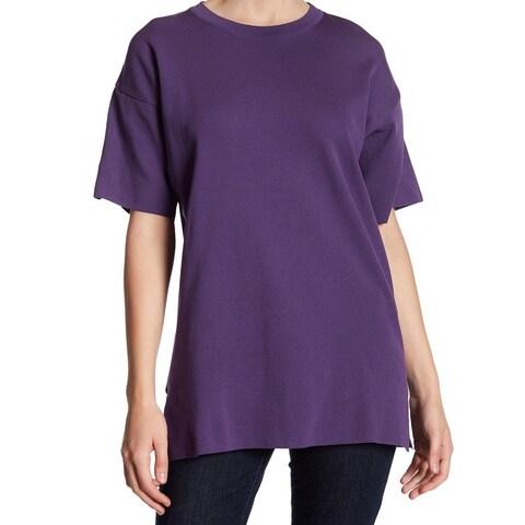 TopShop NEW Purple Womens Size 10 Side-Slit Stretch-Knit Tunic Sweater