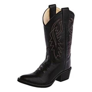 Old West Cowboy Boots Boys Girls Kids Narrow J Toe PVC Black