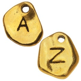 Gold Plated Lead-Free Pewter, Assorted Pebble Alphabet Charms 'A-Z' 8-11mm, 130 Pieces, Antiqued Gold