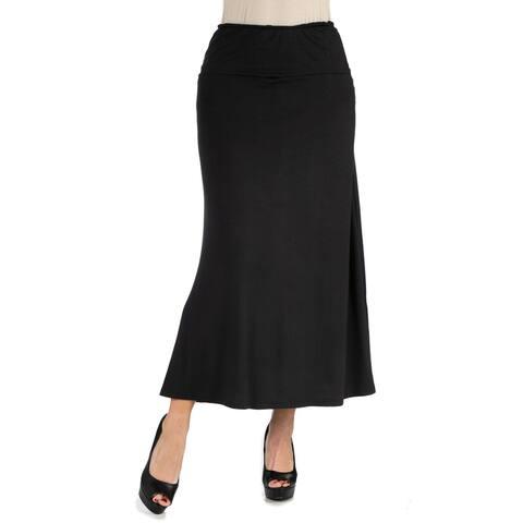 24seven Comfort Apparel Womens Elastic Waist Solid Color Maxi Skirt R002510