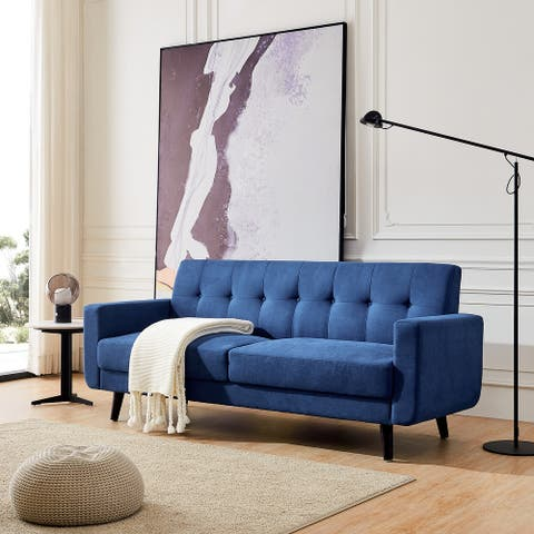 Art Leon Tufted Back Fabric Couch Sofa with Solid Wood