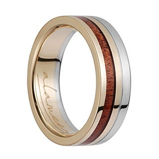 14K Yellow Gold & White Gold Flat Wedding Ring With Koa Wood Inlay - 6mm (Option: 3.5)