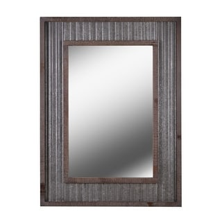 """Kenroy Home 60442  Westbend 40"""" x 30"""" Rectangular Flat Wall Mounted Mirror - Galvanized / Distressed"""