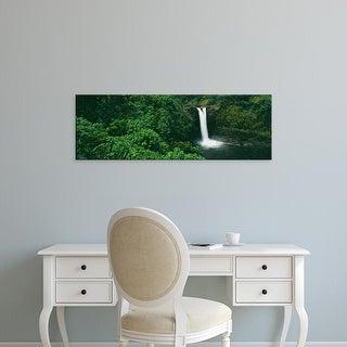 Easy Art Prints Panoramic Image 'Rainbow Falls in Wailuku River State Park, Hilo, Island of Hawaii, Hawaii' Canvas Art