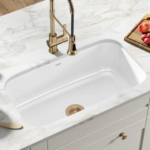 "KRAUS Pintura Enameled Stainless Steel 31 1/2"" Undermount Kitchen Sink"