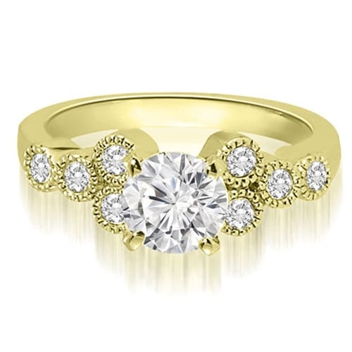 0.82 cttw. 14K Yellow Gold Milgrain Round Cut Cluster Diamond Engagement Ring