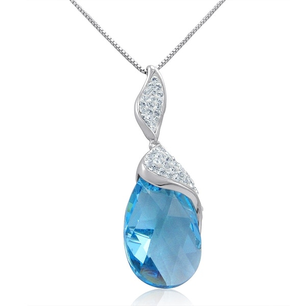 Amanda Rose Sterling Silver Drop Pendant-Necklace with Blue and White Swarovski Crystals