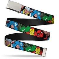 "Marvel Comics blank Chrome 1.0"" Buckle 5 Marvel Characters Black Webbing Web Belt 1.0"" Wide - S"