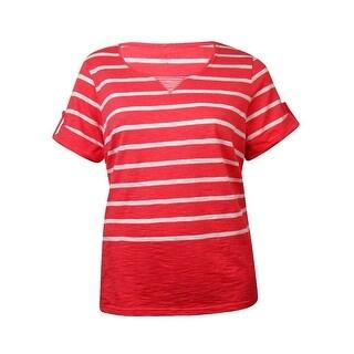 Karen Scott Women's Striped Cuffed Short Sleeves Top
