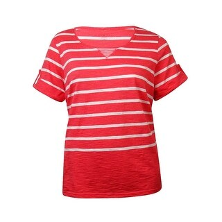 Karen Scott Women's Striped Cuffed Short Sleeves Top - sunshower