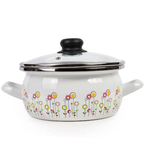 STP Goods Enamel on Steel 2.6-quart Pot with a Glass Lid - Flowers