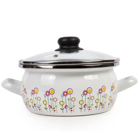 STP Goods Enamel on Steel 4.2-quart Pot with a Glass Lid - Flowers