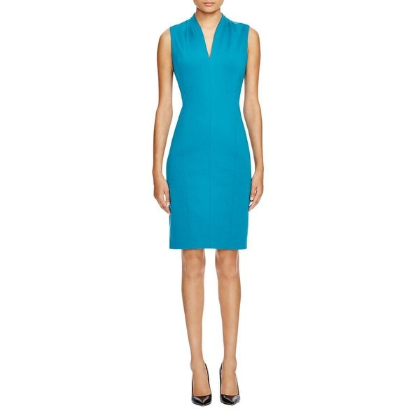 T Tahari Womens Wear to Work Dress Pleated Collar Sleeveless