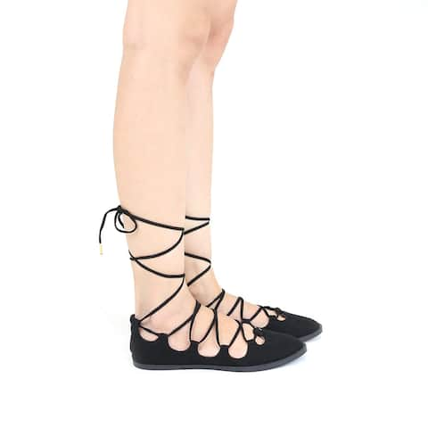 Qupid Womens Sting-06 Fashion Lace Up Gladiator Sandals