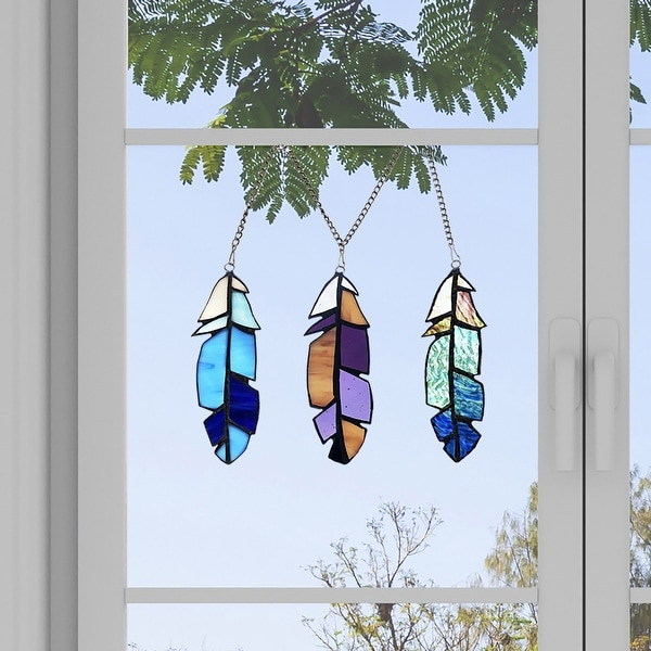"River of Goods 6""H Set-of-3 Virtues of a Feather Stained Glass Window Panel Accents. Opens flyout."