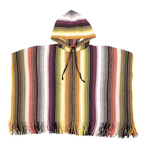Missoni Khaki Crochet Knit Zigzag Fringe Hooded Poncho - Large