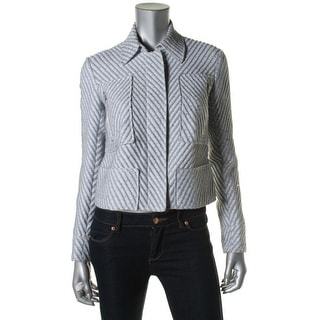 Theory Womens Textured Striped Jacket - L