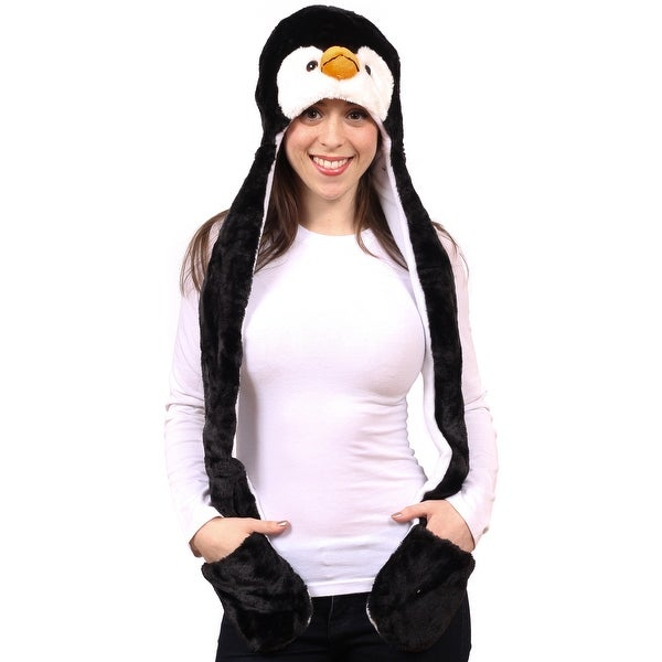 3-in-1 Animal Cold Weather Winter Hat Scarf with Hand Warmers, Penguin