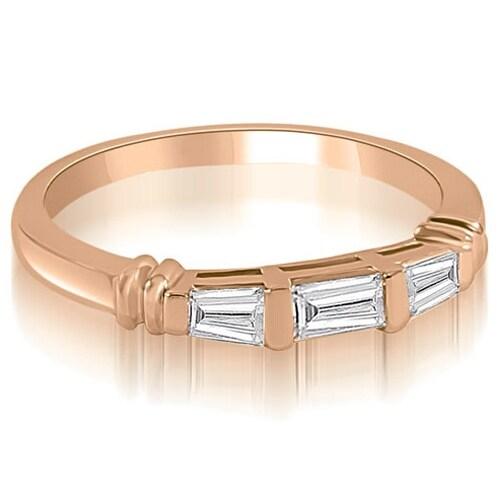 0.25 cttw. 14K Rose Gold 3-Stone Bar Set Baguette Diamond Wedding Ring