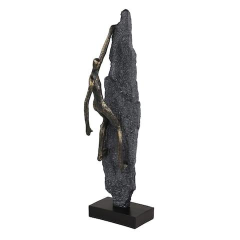 Rock Climber Figurine Scaling A Stone Wall Statue - 6 x 5 x 19