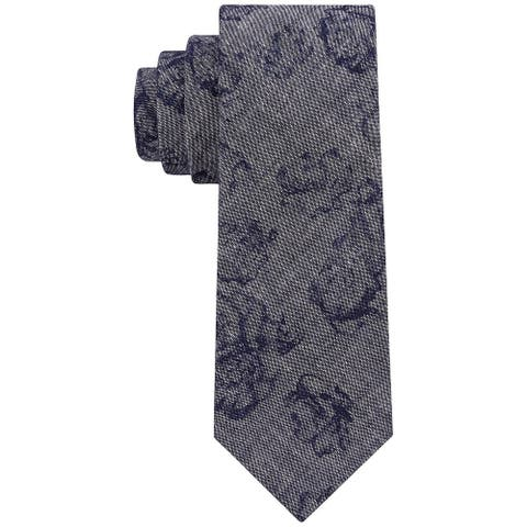 DKNY Men's Denim Cotton Blue Floral Slim Tie Navy Blue Necktie