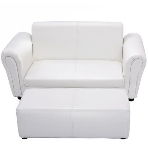 Black/White Kids Double Sofa with Ottoman-White