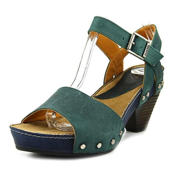 fcfa075717 Shop John Fluevog Gardiner Women Open Toe Canvas Green Sandals ...