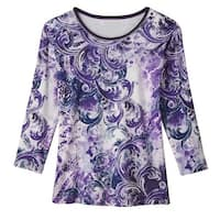 Women's Tunic Top - Sweeping Violet Paisley Print Knit Blouse