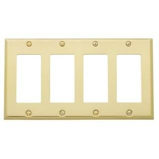 Baldwin 4742 Beveled Edge Solid Brass Quad Rocker GFCI Switchplate