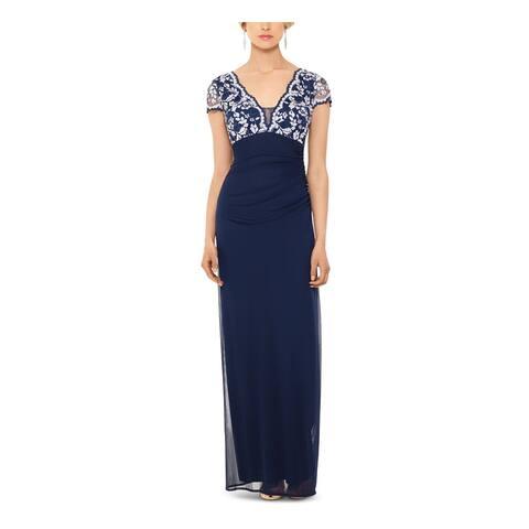 BETSY & ADAM Navy Short Sleeve Full-Length Sheath Dress Size 6