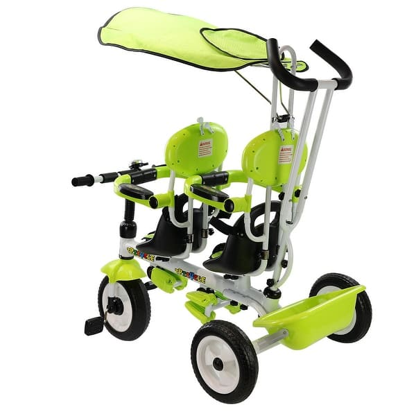 Costzon 4 in 1 Twins Kids Trike Baby Toddler Tricycle Safety Double Rotatable Seat w//Basket Tandem Tricycle, Green