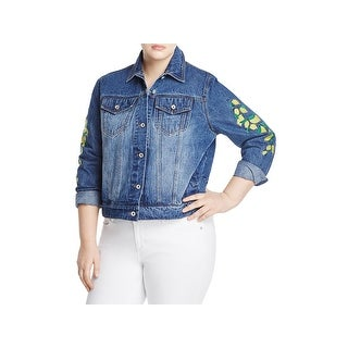 Bagatelle Womens Plus Denim Jacket Lemon Embroidered (3 options available)