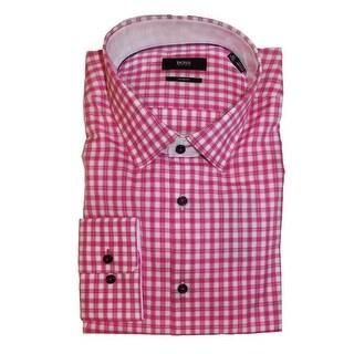 Hugo Boss Juri Pink Check Plaid Long Sleeve Cotton Fitted Point Dress Shirt (15 1/2) - 15-15.5