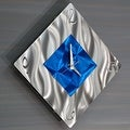 Statements2000 Blue / Silver 17-inch Metal Hanging Wall Clock - Spare Moment - Thumbnail 5
