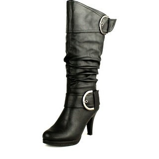 Top Moda Womens Page-22 Knee High Round Toe Buckle Slouched Low Heel Boots
