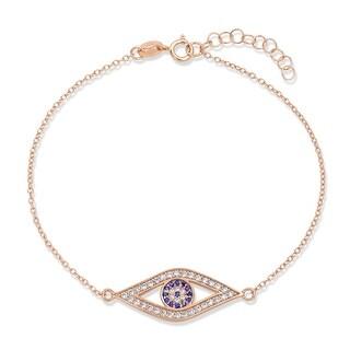 Link to Evil Eye Charm Bracelet CZ Gold Rose Gold Plated 925 Sterling Silver Similar Items in Bracelets