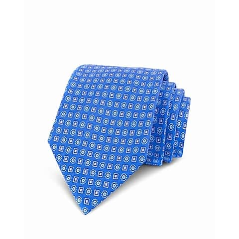 The Men's Store Mens Neck Tie Blue One Size Micro-Circle Print Silk
