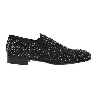 Dolce & Gabbana Black Brocade Crystal Strass Loafers