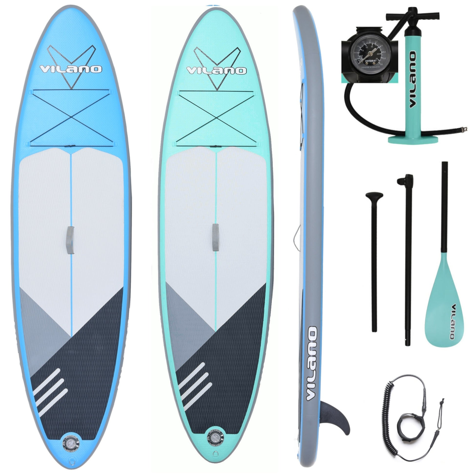 """3 Fins Inflatable SUP Paddle Board 10ft Stand Up Paddleboard Kayak 6/"""" Thick ak"""