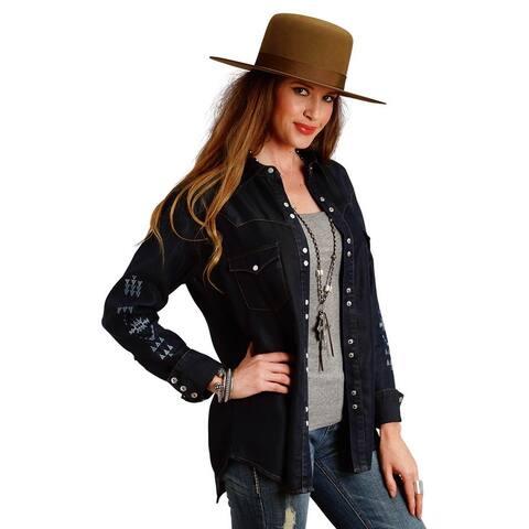 Stetson Western Shirt Women Long Sleeve Solid Blue