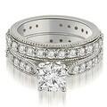 2.50 cttw. 14K White Gold Cathedral Round Cut Eternity Diamond Bridal Set - Thumbnail 0