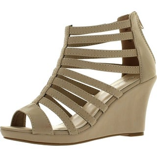 Top Moda Womens Lord-7 Gladiator Inspired Bird Cage Strappy Wedge Sandal