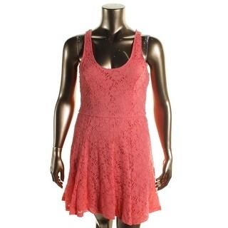Jessica Simpson Womens Juniors Layla Casual Dress Lace Cross Back - XL