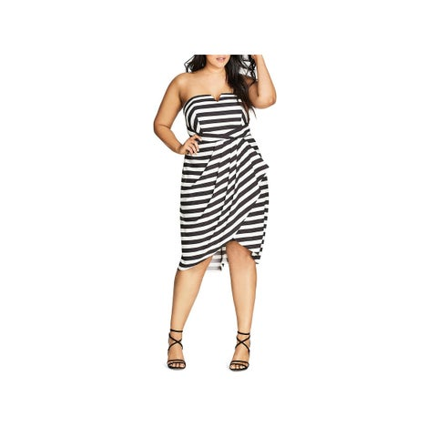 City Chic Womens Plus Fair Lady Cocktail Dress Striped Strapless
