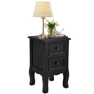 Costway Black Night Stand w/ 2 Storage Drawers, Wood End Accent Table