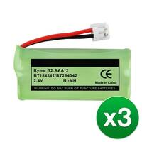 Replacement Battery For GE/RCA 25423RE1 / 28522AE1 Cordless Phones - 6010 (500mAh, 2.4V, Ni-MH) - 3 Pack